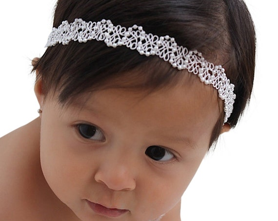 Baptism Headband, Christening Headband, White Headband, Newborn Headband, Baby Girl Headband, Infant Headband, White Baby Headband, Halo
