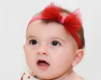 Red Bow Headband, Red Bow Headband, Red Headband, Baby girl headband, Bow Headband, Infant Headband, Baby Headband,Baby Bows