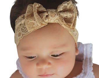 Infant Bow Headband, Lace Headband, Tan Headband, Baby Headband, Bow Headband, Newborn Headband,  Hair Accessories
