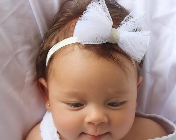 White Baby headband, baby headbands Christening Headband, baby headband, baptism headband, Newborn Headband, baby headband, Baby Hair Bows