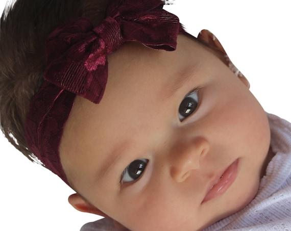 Burgundy Headband, Bow Headband, Lace headband, Sweet Headband, Baby Girl Headband, New Girl Gift