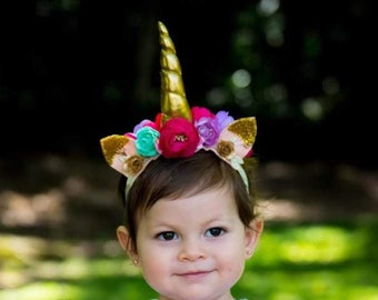 Unicorn Headband, Unicorn, Unicorn Horn, Unicorn Birthday, Unicorn Party, Headband, Unicorn Costume, Baby Headband, Girls Headband, Gold