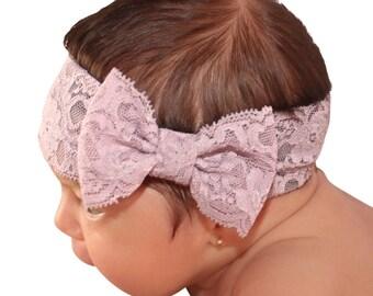 Lace Bow Headband, Lilac Headband, Newborn Headband, Bow Headwrap, Baby Headband, Turban Headband, Lilac Bow Headband, Big Bow Headband