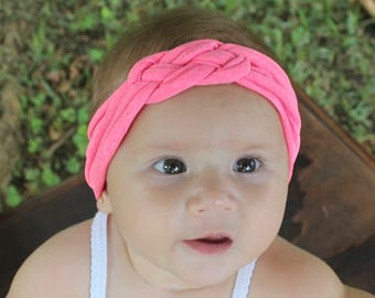 Knot Headband, Pink Headband, Baby HeadWrap, Pink Turban, Celtic Knot Headband, Sailor's Knot, Hair Wrap, Baby Headband, Baby Head Wrap