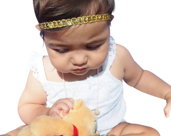 Infant Headbands, First Baby Headband, Golden Headband, Gold Baby Headband, Baby Headband, Gold Headband, Baptism Headband, Headband Baby