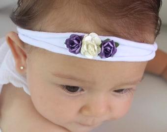 Soft Baby Headband, Newborn Headband, Flowers Headband, Flower Headpiece, Purple Headband, Flower Head band, Flower Headband Baby,