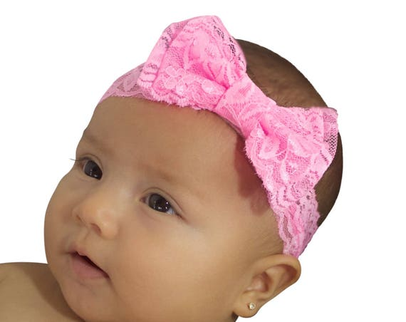 Pink Baby Headband, Bow Headband, Newborn Headband, Baby Headband, Infant Headband, Pink Headband, Toddler Headband, Pink Lace Headband