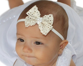 Christening Headband, Beige Bow Headband, Lace Bow Headband, Beige Headband, Infant Headbands, Newborn Headband, Baptism Headband