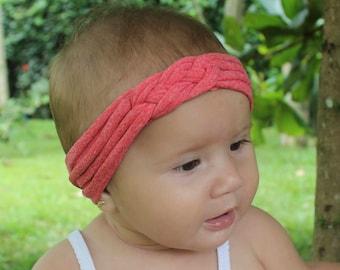 Knot Headband, Orange Headband, Baby HeadWrap, Orange Turban, Celtic Knot Headband, Sailor's Knot, Hair Wrap, Baby Headband, Baby Head Wrap