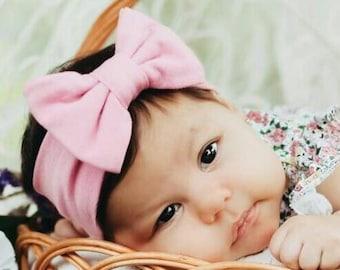 Pink Bow, Baby Headband Bow, Baby Turban Headband, Toddler Head Wrap, Baby Turban, Lace Baby Headband, Turban Baby Headband, Head Wrap