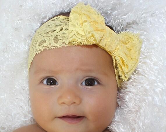 Baby Bows, Baby Girls Bows, Lace Headband Bow, Baby Girl Headband, Yellow Headband, Baby Headband, Bow Headband, Newborn Headband