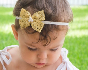 Baby Bow Headband, Bow Headband, Gold Headband, Infant Headbands, Newborn Headband, Baptism Headband, Lace Bow Headband