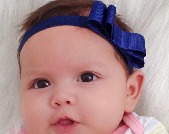 Blue Headband, School Headbands, Bow Headband, Baby Bow Headband, Infant Headband, Baby Headband, Navy Headband, Elastic Headband