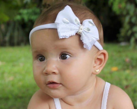 White Baby Bow Headband, Headbands Bows, Bow Headband, Newborn Gifts, Silver Headband, Handmade Baby Headband, Bows, White Headband