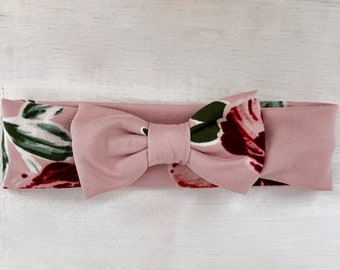 Pink Baby Bow Headband, Baby Turban, Baby Headband Bows, Baby Headband Turban, Infant Bow Headband, Headbands for Babies, Infant Bows