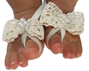 Beige Barefoot Sandal, Baby Barefoot Sandal, Baby Barefoot Sandals, Baby Bow Sandals, Baby Sandals, Baby Shoes, Baby Shoes Girl, Barefoot
