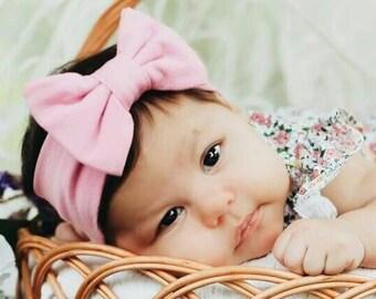 Pink Bow Headband, Baby Headband Bow, Baby Turban Headband, Toddler Head Wrap, Baby Turban, Baby Headband, Newborn Headband, Infant Headband