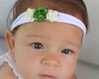 Newborn Headband, White Headband, Soft Headband, Flower Headband, Flower Headpiece, Infant Headband, Green Headband, Headband Baby,