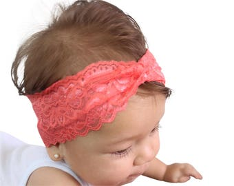 Lace Coral Turban, Baby First Headband, Baby Turban, Newborn Turban, Twisted Headband , Newborn Gift, Turban Headband, Lace Turban