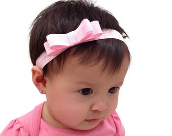 Baby Pink Headband, Pink Headband Bow, Baby Headband Baby, Pink Baby Headbands, Headbands For Babies, Infant Headbands, Handmade Headband