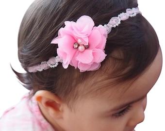 Pink Headband, Baby Headband, Flower Headband, Rhinestone Headband, Pearls Headband, Baby Pink Headband, Baby Headpiece, Handmade Headband