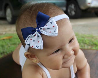 Baby Bows, Blue Bow Headband, Bow Headband, Blue Headband for Baby, White Headband, Baby Headband, Newborn Headband, Baby Girl Headband
