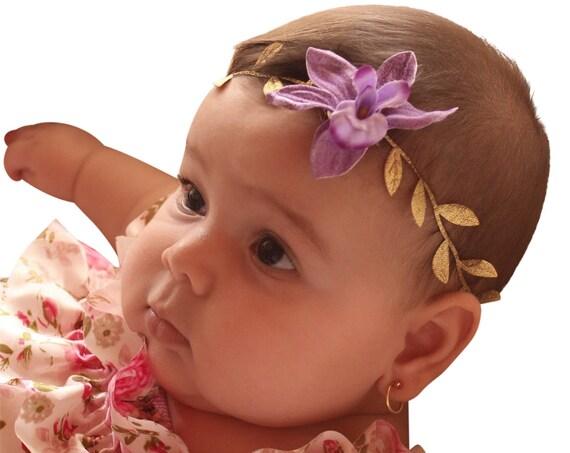 Infant Headbands, Purple Headband, Grecian Headpiece, Flower Headband, Gold Headband, Greek Headpiece, Toddler Headband, Newborn Headband