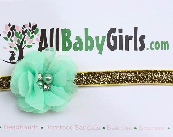 Birthday Girl Headband, Flower Headpiece, Gold Headband, Mint Headband, Baby Flower, Mint Flower Headband, Baby Headband, Infant Headbands