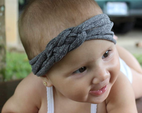 Knotted Headband, Gray Headband, Baby Headbands, Gray Knotted Headband, Infant Headband, Toddler Headband, Solid Color Headband