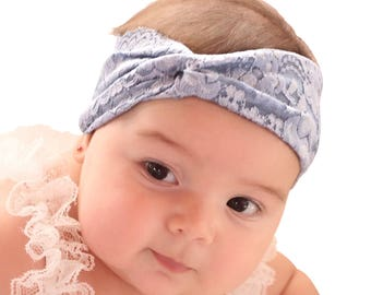 Baby Headband, Newborn Turban, Blue Headband, Girls Turban, Baby Turban, Baby Headwrap, Baby Headband, Lace Headband, Infant Headwrap