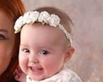 White Headband, Baby White Headband, Infant Headband, Flowers Headband, Baby Crown, Baptism Headband, Baby Girls Headband