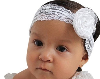 White Flower Headband, Newborn Headband, Infant Flower Headband, Baby Flower Headband, Newborn Flower Headband, Flower Girl Headband
