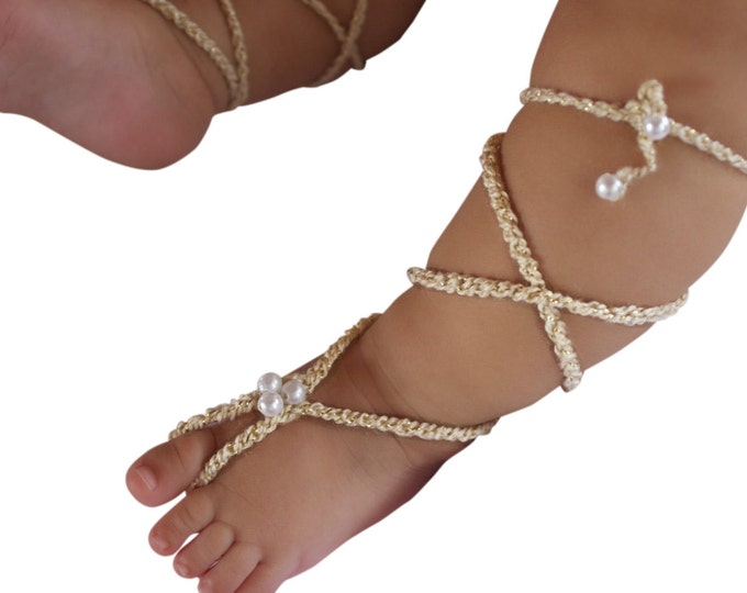 Featured listing image: Gold Gladiator Sandals, Barefoot Sandals, Crochet Baby Sandals, Crochet Barefoot, Baby Sandals, Gladiator Sandals, Newborn Sandals