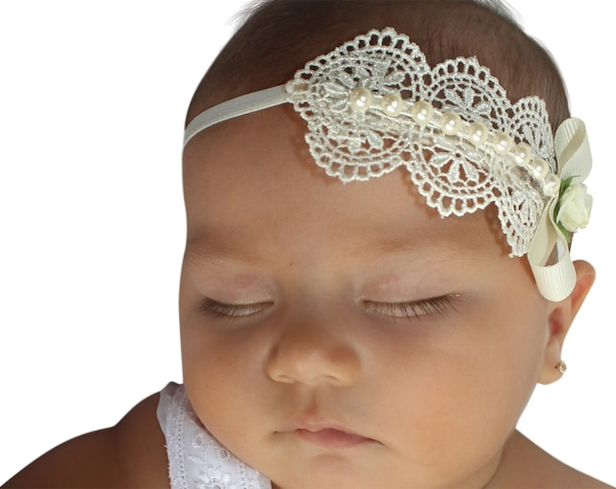 Featured listing image: Baptism Headpiece, Ivory Headband, Lace Headband, Baby Headband, Infant Headbands, Newborn Headband, Christening Headband, Ivory Headpiece