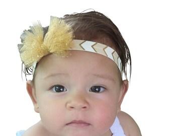 Gold Baby Headband, Glitter Bow Headband, Baby Bow Headband, Baby Headband, Bow Headband, Gold Headband, Tulle Headband, Sparkle Headband