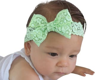 Baby Bows, Light Green Bow, Baby Bow Headband, Sweet Headband, Baby Girl Headband, Baby Shower Gifts, New Girl Gift, Baby Headbands