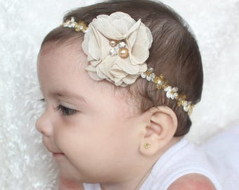 gold headband baby, gold headband baby, Gold Headband, Infant Headband, Flower Headband Baby, newborn headbands baby girl, White Headband