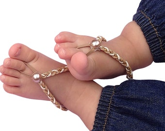 Gold Baby Sandals, Barefoot Sandals Baby, Barefoot Baby Sandals, Baby Sandals, Baby Barefoot Sandals, Barefoot Sandals For Babies, Pearl