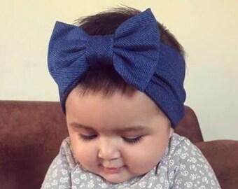Blue Jeans Bow, Baby Headband Bow, Baby Turban Headband, Toddler Head Wrap, Baby Turban, Lace Baby Headband, Turban Baby Headband, Head Wrap