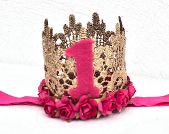 Birthday Crown, Flower Crown, Newborn Crown, Infant Flower Crown, Baby Flower Crown, Newborn Flower Crown, Flower Girl Crown Flower Headband