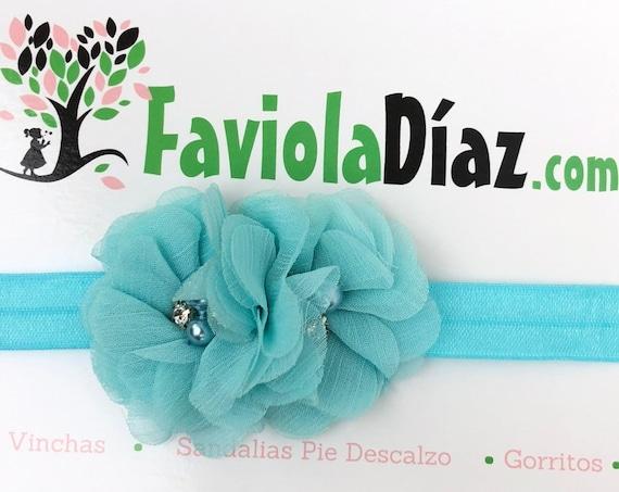 Turquoise Headband, Flower Headband, Baby Headband, Newborn Headband, Infant Headband, Baby Girl Headband, Baby Head Wrap, Toddler Headband,