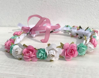 Flowers Crown, Baby Crown, Crown for pictures, Infant Headband, Pink Headband, Mint Headband, Handmade Crown, Unique Crown