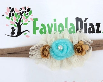 Blue Flower, Beige Headband, Gold Baby Headband, Newborn Headband, Infant Headband, Baby Girl Headband, Baby Head Wrap, Toddler Headband,