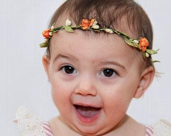 Orange Baby Crown, Crown Headband, Princess Crown, Birthday Crown, First Birthday Crown, Baby Crown, Newborn Crown, Baby Crown Headband,