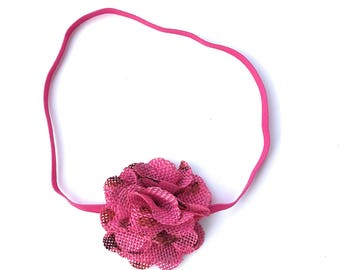 Fuchsia Headband, Flower Headband, Newborn Headband, Pink Headband, Infant Headbands, Girls Headband, Headband for Babies