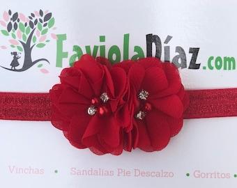 Christmas Headband, Red Headband, Flower Headband, Baby Headband, Newborn Headband, Infant Headband, Baby Girl Headband, Baby Head Wrap,