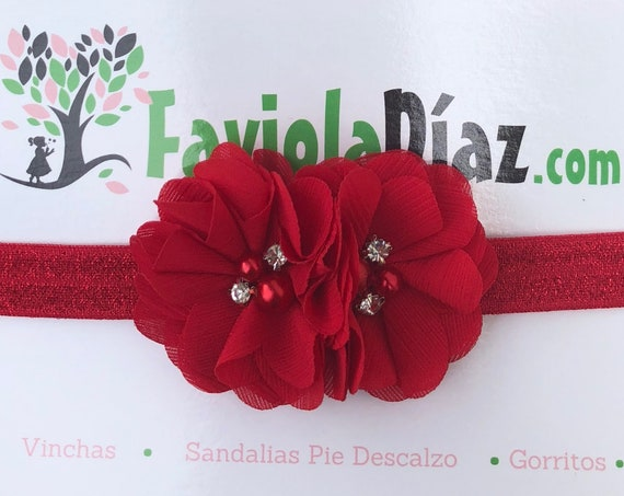 Christmas Headband, Red Headband, Flower Headband, Baby Headband, Newborn Headband, Infant Headband, Baby Girl Headband, Baby Head Wrap,