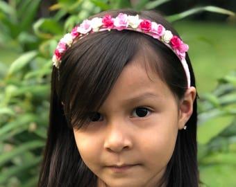 Pink Floral Headband, Pink Flowers Headband, Floral Headband For Girl, Flower Headband, Flower Crown, Floral Headpiece, Floral Headband Baby