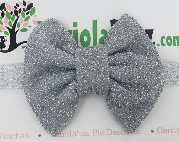 Silver Baby Bow, Baby Headband Bow, Baby Headband, Newborn Headband, Infant Headband, Baby Girl Headband, Baby Head Wrap, Toddler Headband