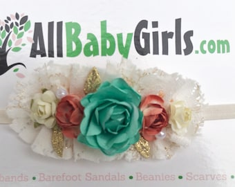 Baby Headband, Vintage Headband, Flowers Headband, Baby Head Wraps, Newborn Headband, Infant Headbands, Flower Girl Headband, Flower Girl